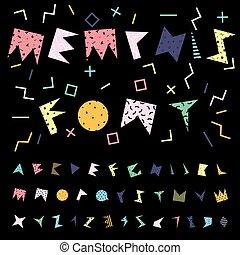 funky, vetorial, alphabet.