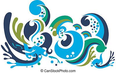 funky waves pattern design background.