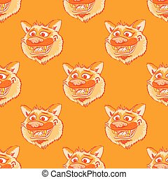 Funky wolf smiling seamless pattern