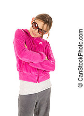 Funky young girl isolated on white