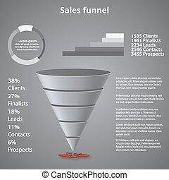 funnel., ビジネス, 販売, テンプレート, プレゼンテーション, あなたの