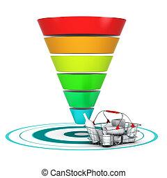 funnel., business, commercialisation, ventes établissent graphique, ou