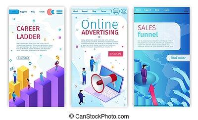 funnel., carrera, ventas, escalera, publicidad línea