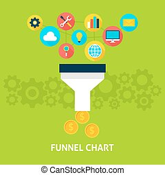 Funnel Chart Flat Concept - Funnel Chart Flat Style Concept....
