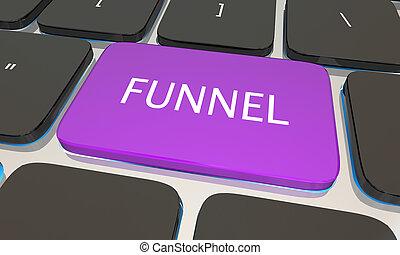 Funnel Computer Keyboard Button Sales 3d Illustration