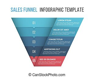 Funnel diagram, 5 segments, infographic template for web, business, presentations, vector eps10 illustration
