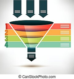 Funnel flow chart template with three arrows showing input into the funnel passing four colored banners to organize, condense and streamline into one output arrow below, vector illustration
