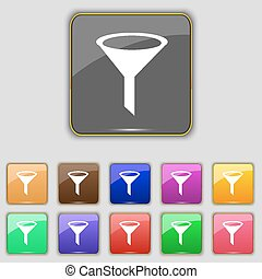 Funnel icon sign. Set with eleven colored buttons for your site. Vector