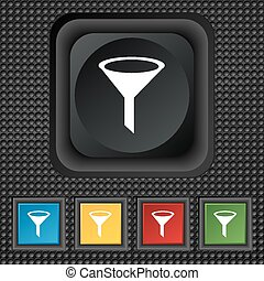 Funnel icon sign. symbol Squared colourful buttons on black texture. Vector