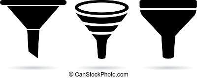 Funnel icons isolated on white background