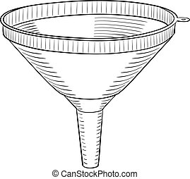 Funnel in black and white design on white background