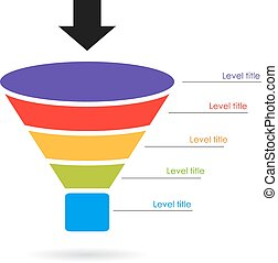 Funnel layered diagram on white background
