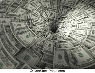Funnel made of hundred dollar banknotes