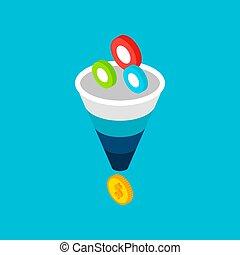 Funnel Sales Leads Money Concept