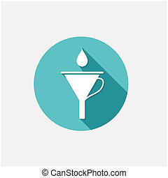 Funnel with drop. Vector illustration in flat style
