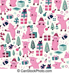 Funnny pigs seamless colorful cartoon pattern. Symbol of the 2019 new year holidays background