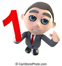 Funny 3d cartoon businessman character holding a number one numeral.