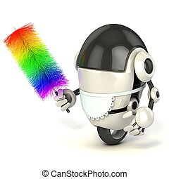 funny 3d robot in the maid uniform holding the feather...