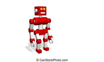 Funny 3D toy robot goes on a white background