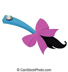 Funny accessory in the form of attached tail with purple ribbon bow isolated on white background. Vector cartoon close-up illustration.
