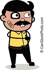 Funny Accidental Face - Indian Cartoon Man Father Vector Illustration