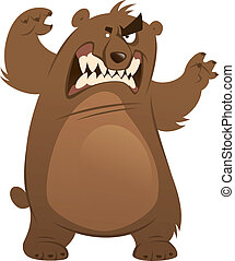 Funny aggressive cartoon brown grizzly bear attacking by standing with open mouth and showing teeth