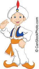 funny aladdin cartoon waving illustration