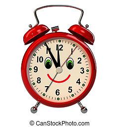 Good morning message on retro alarm clock against sky