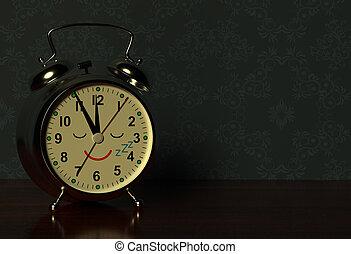Funny alarm clock sleeps on a table in dark bedroom. 3D rendering