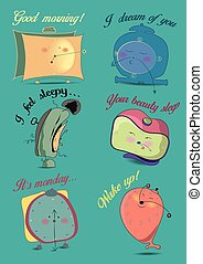 Funny alarm clocks. Vector Illustration