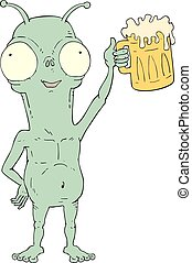 funny alien with beer illustration