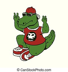 funny alligator with sunglasses and shoes.