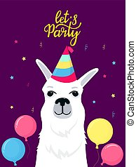 Funny alpaca in a striped hat. Let's Party hand lettering. Greeting card with balloon for birthday and celebration.