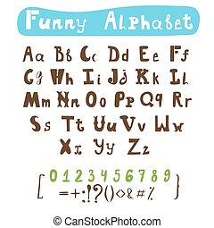 Funny alphabet. Hand drawn calligraphic font. ABC painted letters