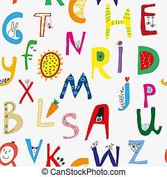 Funny alphabet seamless pattern illustration