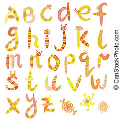 Funny alphabet set in bright colors