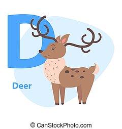 Funny Alphabet with Cartoon Animal Blue Letter D