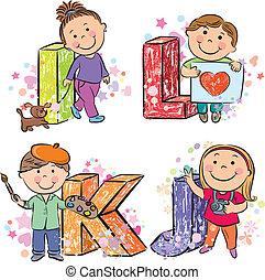 Funny alphabet with kids IJKL