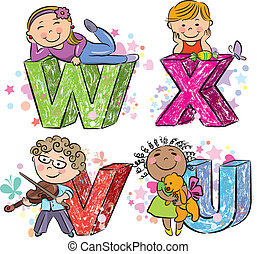 Funny alphabet with kids VWXU