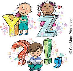 Funny alphabet with kids YZ