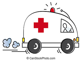 funny ambulance - ambulance with a doctor rushing to repair