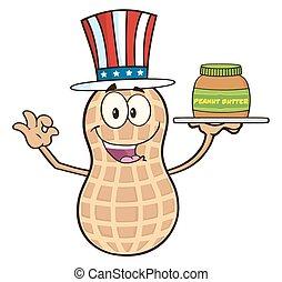 Funny American Peanut Character