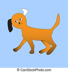 Funny and cheerful red dog.