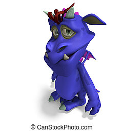 funny and colorful cartoon monster. 3D rendering with...