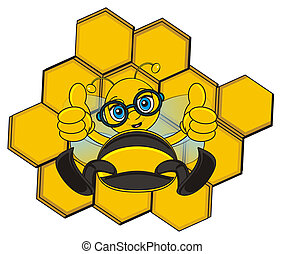 funny and cute bee - bee sitting near the cell and sho...