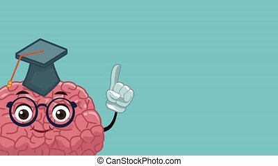 Funny and cute brain cartoon HD animation - Funny brain with...