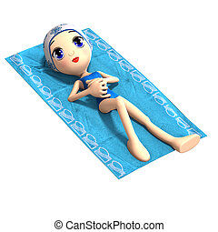 funny and cute cartoon girl. 3D rendering with clipping path and shadow over white
