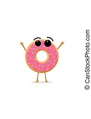 Funny and cute Donut with pink glazing and sprinkles character isolated on white background. Donut with smiling human face vector illustration. Kids restaurant menu