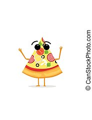 Funny and cute Pizza character isolated on white background. Pizza with smiling human face vector illustration. Kids restaurant menu