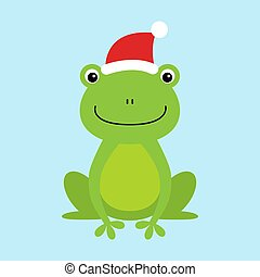 Funny and cute sitting frog wearing Santa s hat for Christmas and smiling - vector.